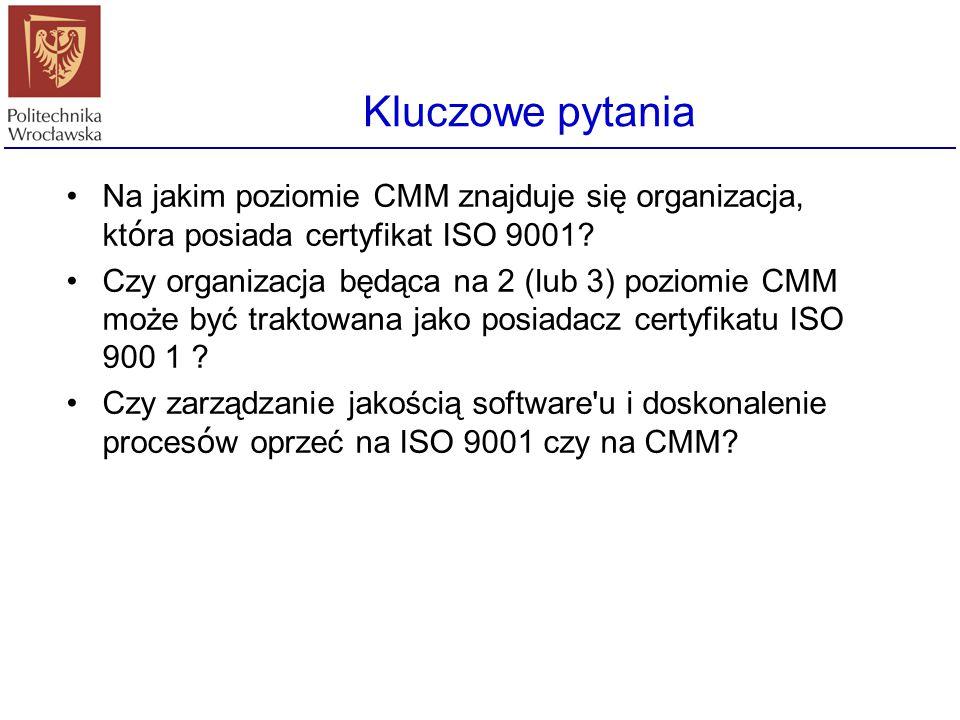 Różnice Niektóre kwestie zawarte w ISO 9001 nie mają swego odzwierciedlenia w CMM (i odwrotnie) Poziom abstrakcji opisów ISO 9001 ma zastosowanie do s