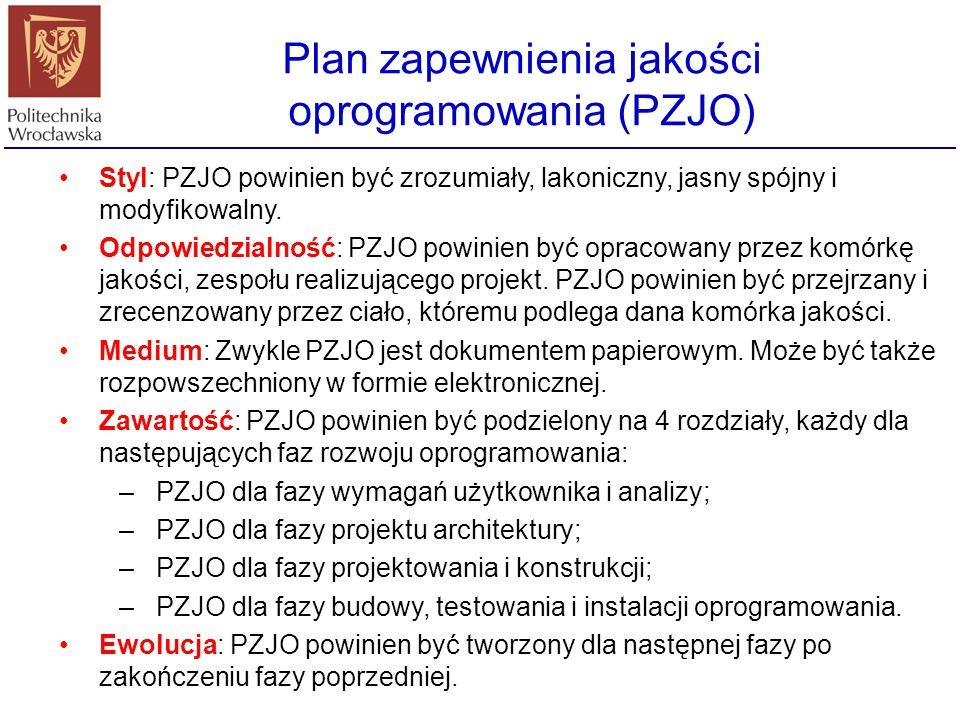 Plan zapewnienia jakości oprogramowania (PZJO) PZJO powinien być sporządzany i modyfikowany przez cały okres życia oprogramowania. Pierwsze jego wydan