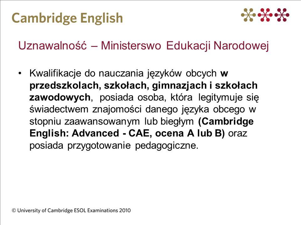 Uznawalność – Ministerswo Edukacji Narodowej Kwalifikacje do nauczania języków obcych w przedszkolach, szkołach, gimnazjach i szkołach zawodowych, pos