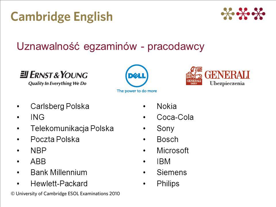 Uznawalność egzaminów - pracodawcy Carlsberg Polska ING Telekomunikacja Polska Poczta Polska NBP ABB Bank Millennium Hewlett-Packard Nokia Coca-Cola S
