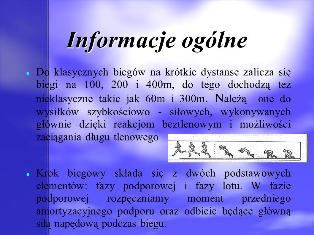 Informacje ogólne Do klasycznych biegów na krótkie dystanse zalicza się biegi na 100, 200 i 400m, do tego dochodzą tez nieklasyczne takie jak 60m i 30