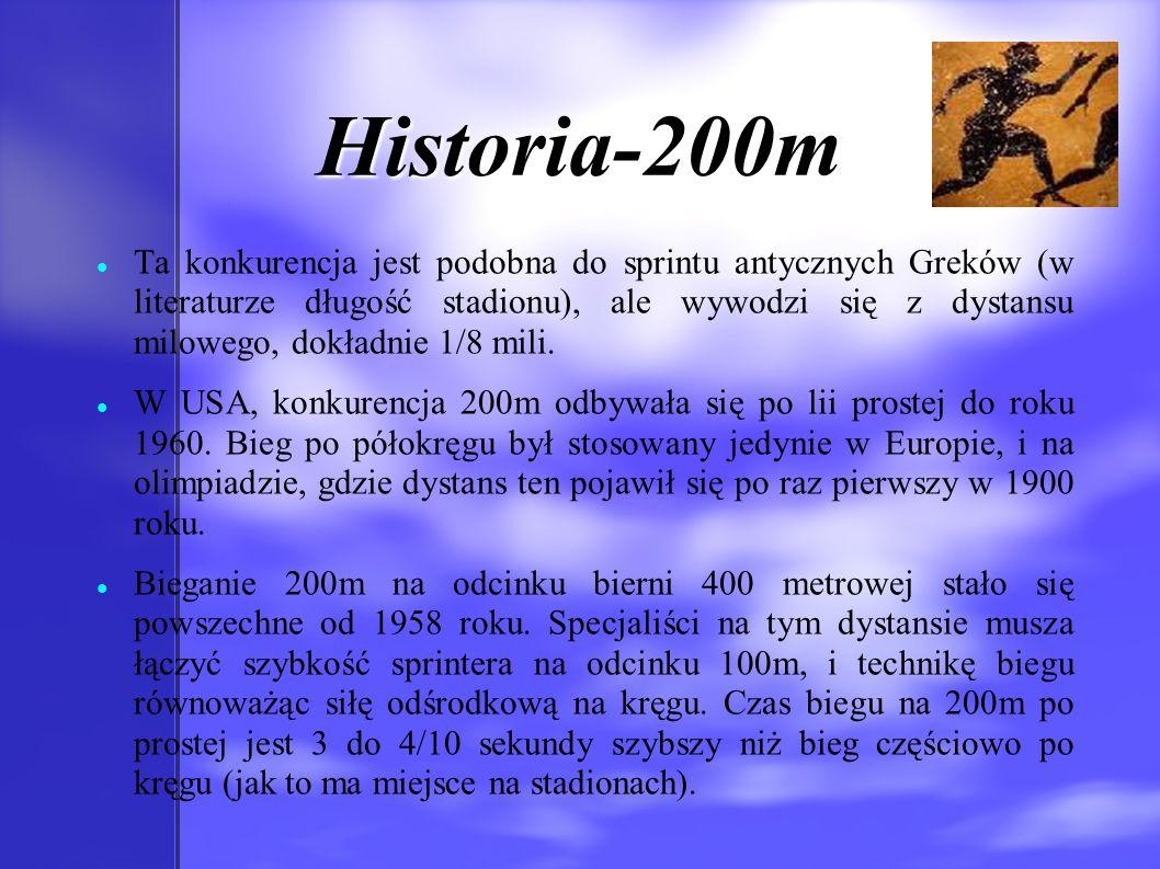 Historia-200m Ta konkurencja jest podobna do sprintu antycznych Greków (w literaturze długość stadionu), ale wywodzi się z dystansu milowego, dokładni