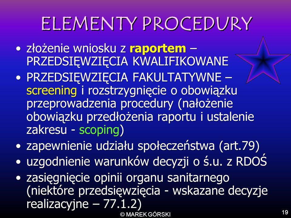 © MAREK GÓRSKI 19 ELEMENTY PROCEDURY ELEMENTY PROCEDURY złożenie wniosku z raportem – PRZEDSIĘWZIĘCIA KWALIFIKOWANEzłożenie wniosku z raportem – PRZED