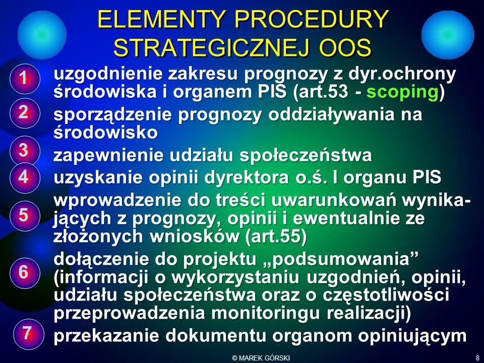 © MAREK GÓRSKI8 ELEMENTY PROCEDURY STRATEGICZNEJ OOS uzgodnienie zakresu prognozy z dyr.ochrony środowiska i organem PIS (art.53 - scoping) sporządzen