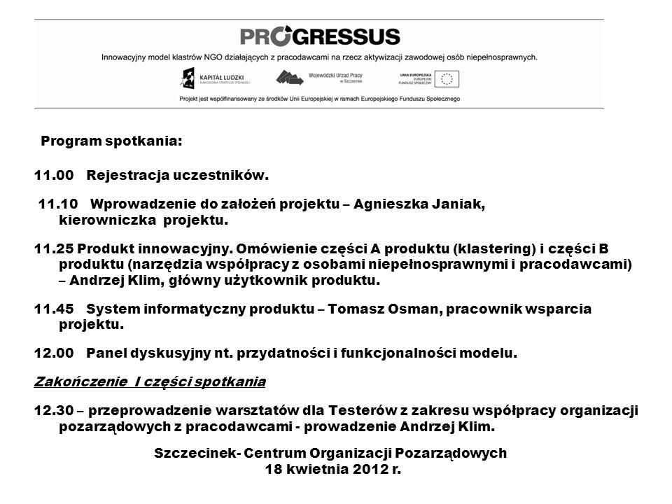 Program spotkania: 11.00 Rejestracja uczestników. 11.10 Wprowadzenie do założeń projektu – Agnieszka Janiak, kierowniczka projektu. 11.25 Produkt inno