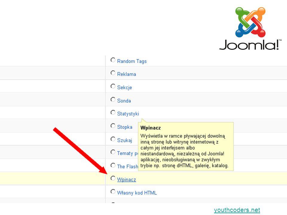youthcoders.net Gdy będziesz wyświetlać jako MODUŁ zaznacz, przy wybraniu którego menu