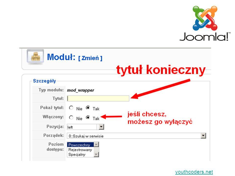 youthcoders.net Gdy będziesz wyświetlać w treści dowolnego artykułu Musi wtedy być włączony dodatek (plugin) Content – Load Module Jest w wersji instalacyjnej Joomla (sprawdź, czy jest włączony)