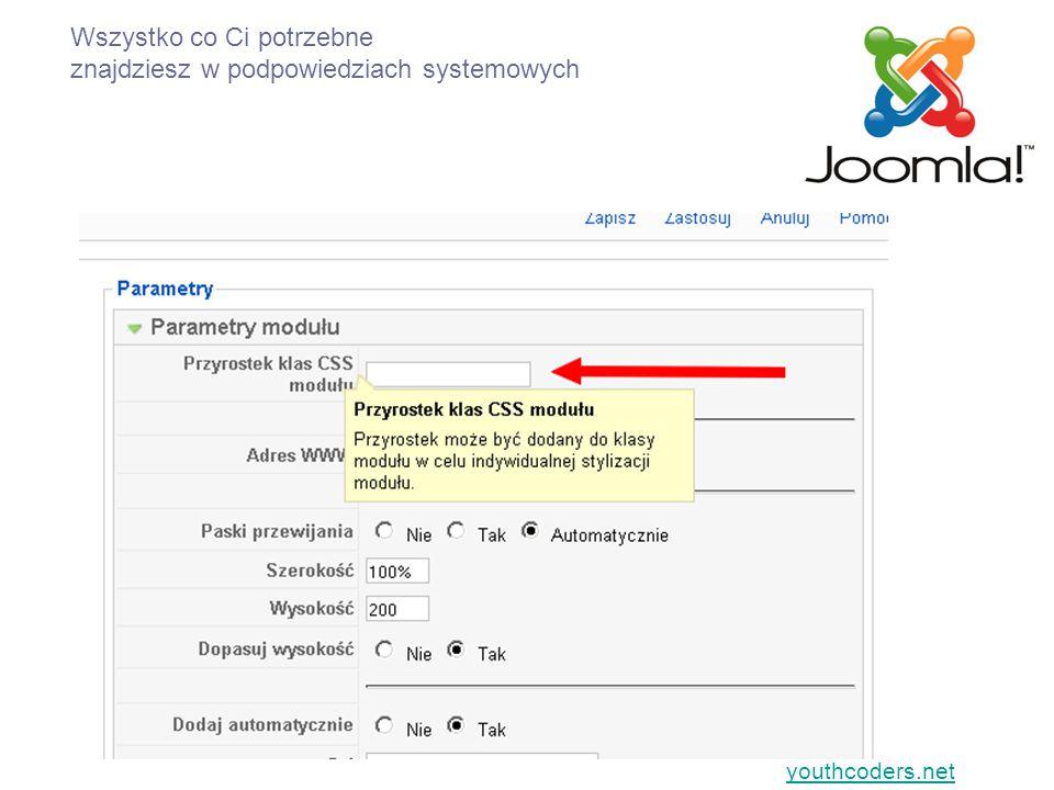 youthcoders.net Wszystko co Ci potrzebne znajdziesz w podpowiedziach systemowych