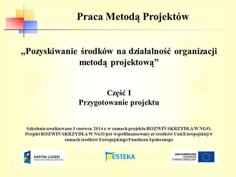 """Praca Metodą Projektów """"Pozyskiwanie środków na działalność organizacji metodą projektową Część I Przygotowanie projektu Szkolenie zrealizowane 3 czerwca 2014 r."""