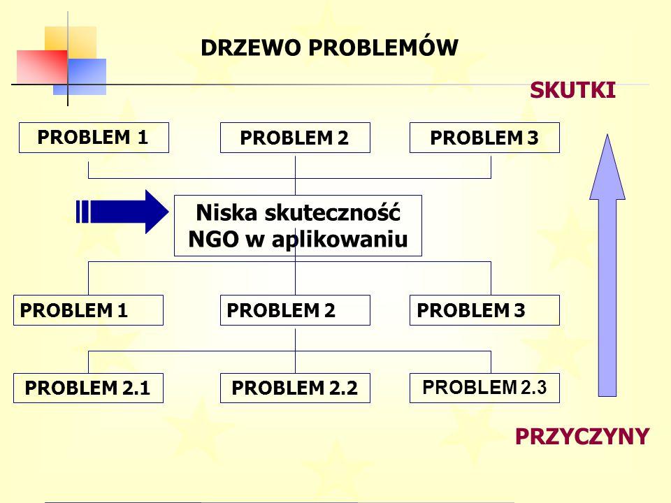DRZEWO PROBLEMÓW PRZYCZYNY SKUTKI Niska skuteczność NGO w aplikowaniu PROBLEM 1PROBLEM 2PROBLEM 3 PROBLEM 2.1PROBLEM 2.2 PROBLEM 2.3 PROBLEM 1 PROBLEM 2PROBLEM 3