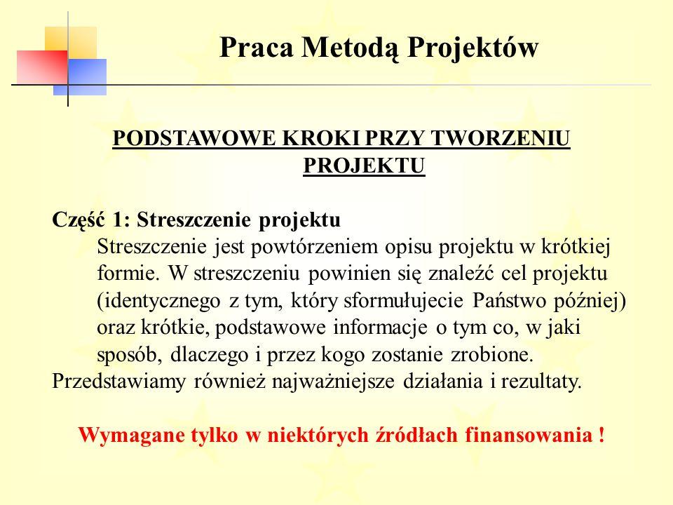 Praca Metodą Projektów PODSTAWOWE KROKI PRZY TWORZENIU PROJEKTU Część 1: Streszczenie projektu Streszczenie jest powtórzeniem opisu projektu w krótkiej formie.