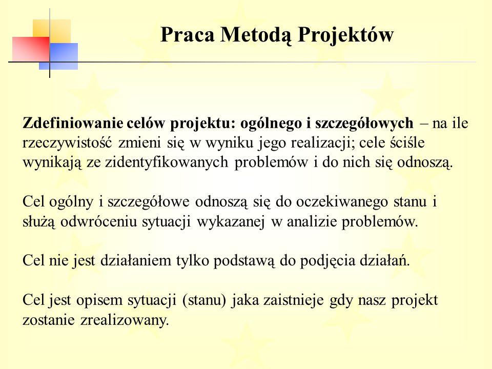 Praca Metodą Projektów Zdefiniowanie celów projektu: ogólnego i szczegółowych – na ile rzeczywistość zmieni się w wyniku jego realizacji; cele ściśle wynikają ze zidentyfikowanych problemów i do nich się odnoszą.