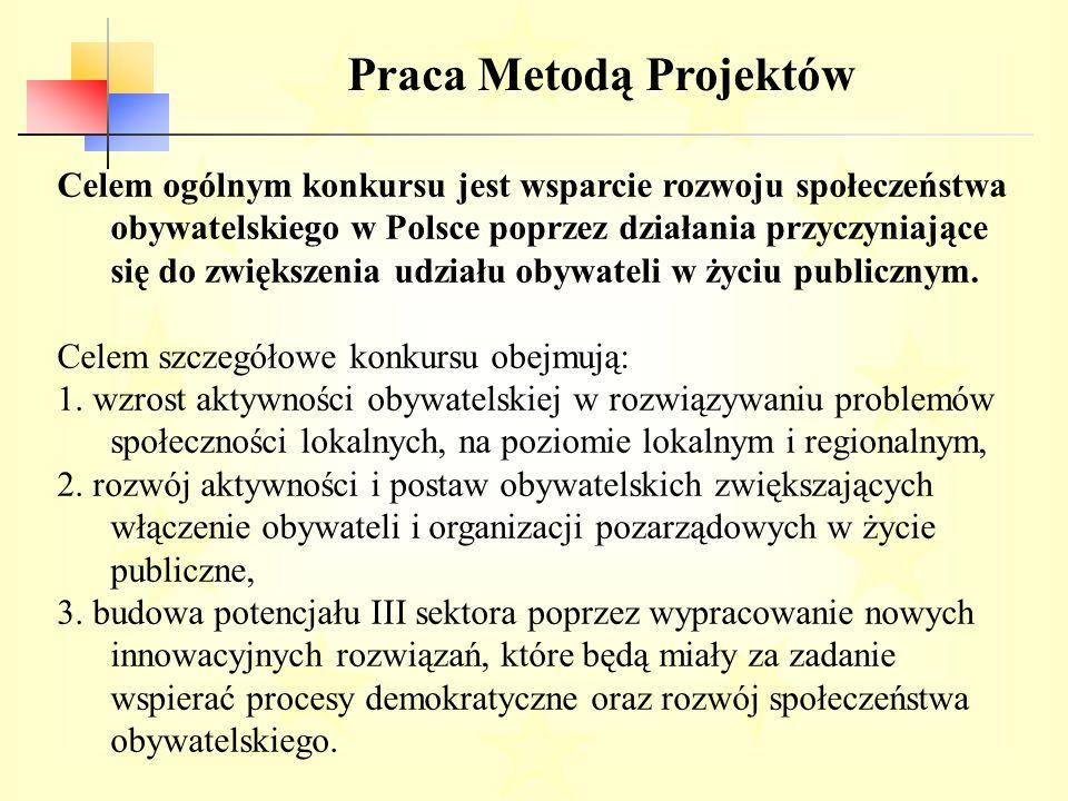 Praca Metodą Projektów Celem ogólnym konkursu jest wsparcie rozwoju społeczeństwa obywatelskiego w Polsce poprzez działania przyczyniające się do zwiększenia udziału obywateli w życiu publicznym.
