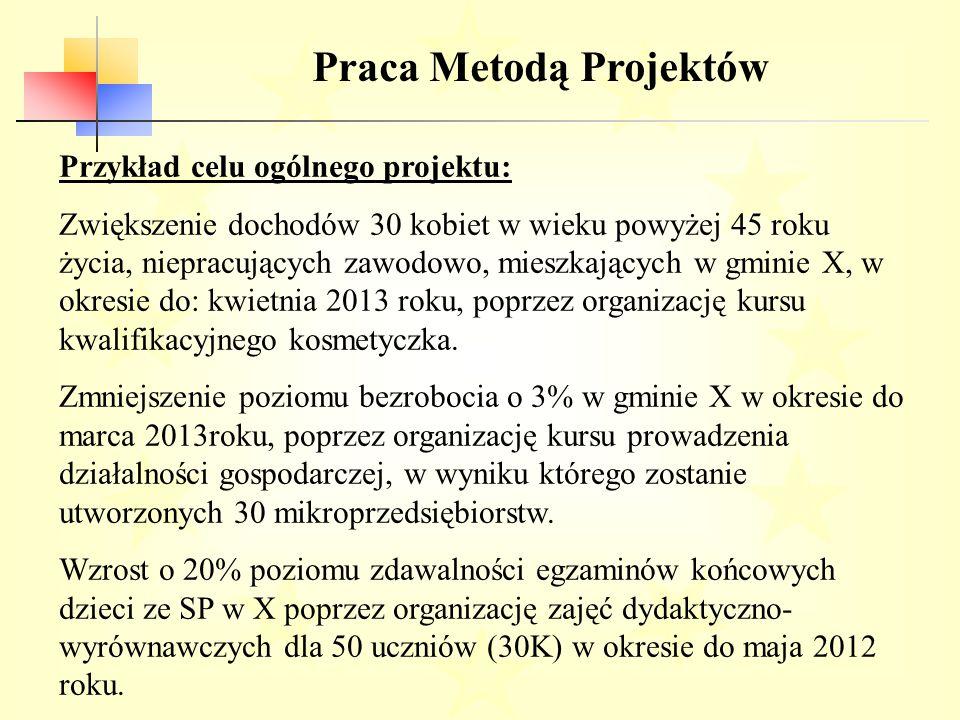 Praca Metodą Projektów Przykład celu ogólnego projektu: Zwiększenie dochodów 30 kobiet w wieku powyżej 45 roku życia, niepracujących zawodowo, mieszkających w gminie X, w okresie do: kwietnia 2013 roku, poprzez organizację kursu kwalifikacyjnego kosmetyczka.