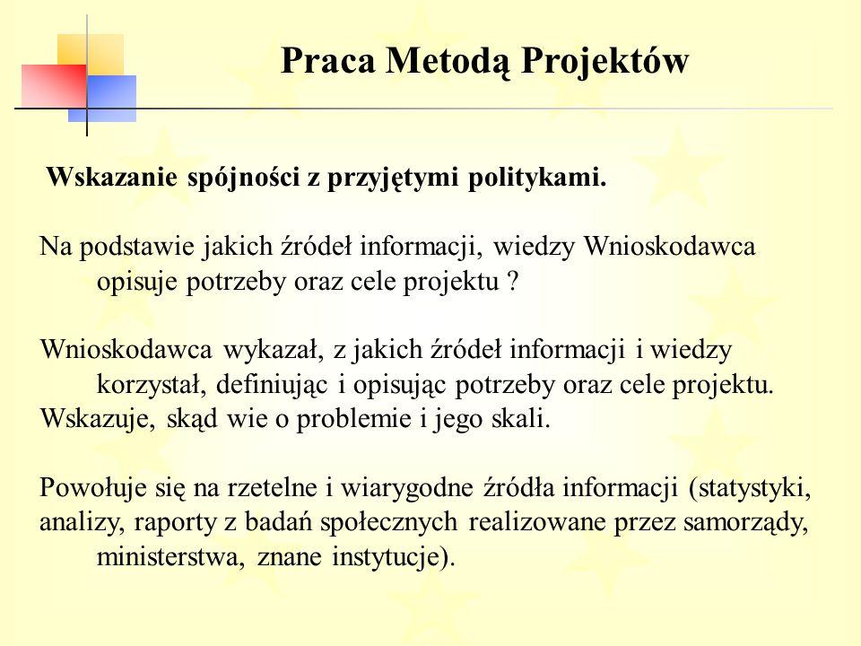 Praca Metodą Projektów Wskazanie spójności z przyjętymi politykami.