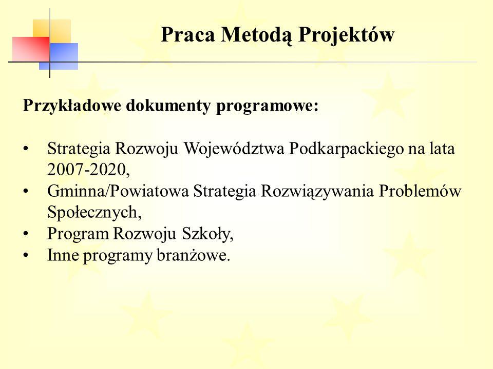 Praca Metodą Projektów Przykładowe dokumenty programowe: Strategia Rozwoju Województwa Podkarpackiego na lata 2007-2020, Gminna/Powiatowa Strategia Rozwiązywania Problemów Społecznych, Program Rozwoju Szkoły, Inne programy branżowe.