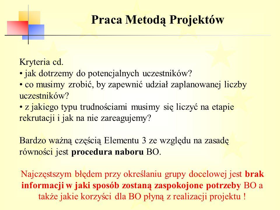 Praca Metodą Projektów Kryteria cd.jak dotrzemy do potencjalnych uczestników.