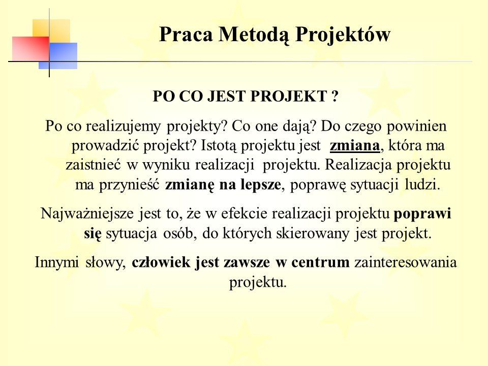 Praca Metodą Projektów PO CO JEST PROJEKT .Po co realizujemy projekty.