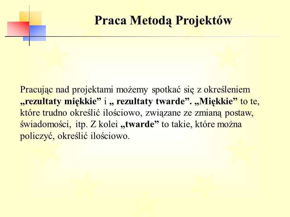 """Praca Metodą Projektów Pracując nad projektami możemy spotkać się z określeniem """"rezultaty miękkie i """" rezultaty twarde ."""