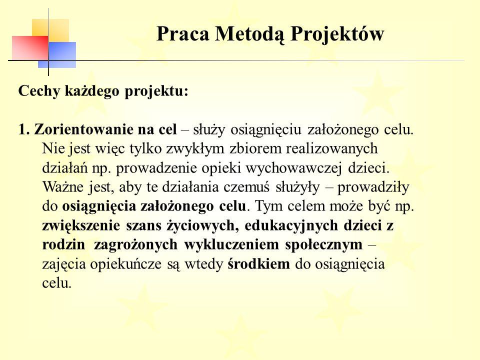 Praca Metodą Projektów Cel projektu musi odpowiadać na poniższe pytania: Co chcą Państwo zmienić (wyeliminować, zmniejszyć, zwiększyć, itp.).