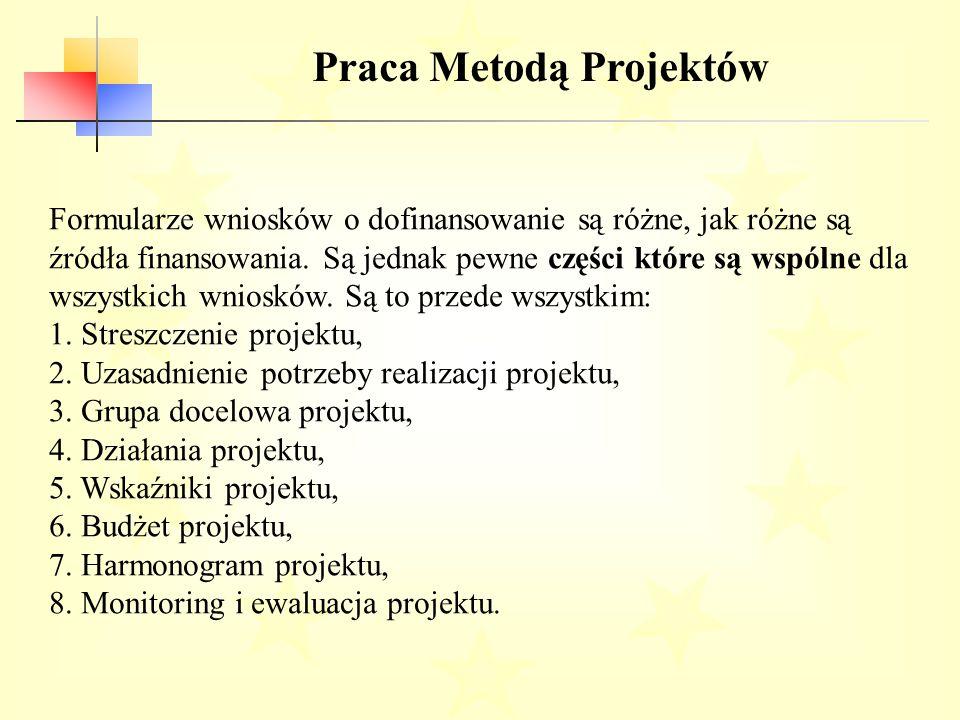 Praca Metodą Projektów Formularze wniosków o dofinansowanie są różne, jak różne są źródła finansowania.