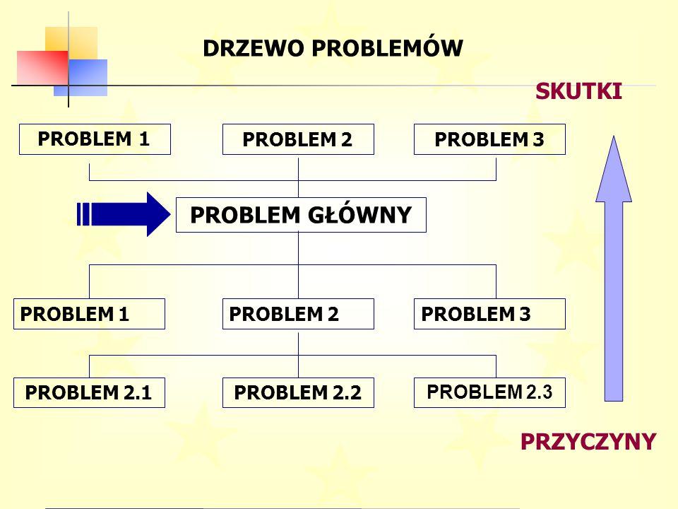 DRZEWO PROBLEMÓW PRZYCZYNY SKUTKI PROBLEM GŁÓWNY PROBLEM 1PROBLEM 2PROBLEM 3 PROBLEM 2.1PROBLEM 2.2 PROBLEM 2.3 PROBLEM 1 PROBLEM 2PROBLEM 3