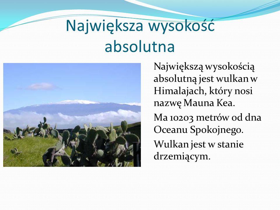 Największa wysokość absolutna Największą wysokością absolutną jest wulkan w Himalajach, który nosi nazwę Mauna Kea.