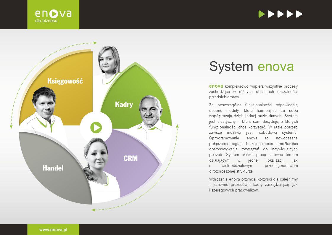 System enova enova kompleksowo wspiera wszystkie procesy zachodzące w różnych obszarach działalności przedsiębiorstwa. Za poszczególne funkcjonalności
