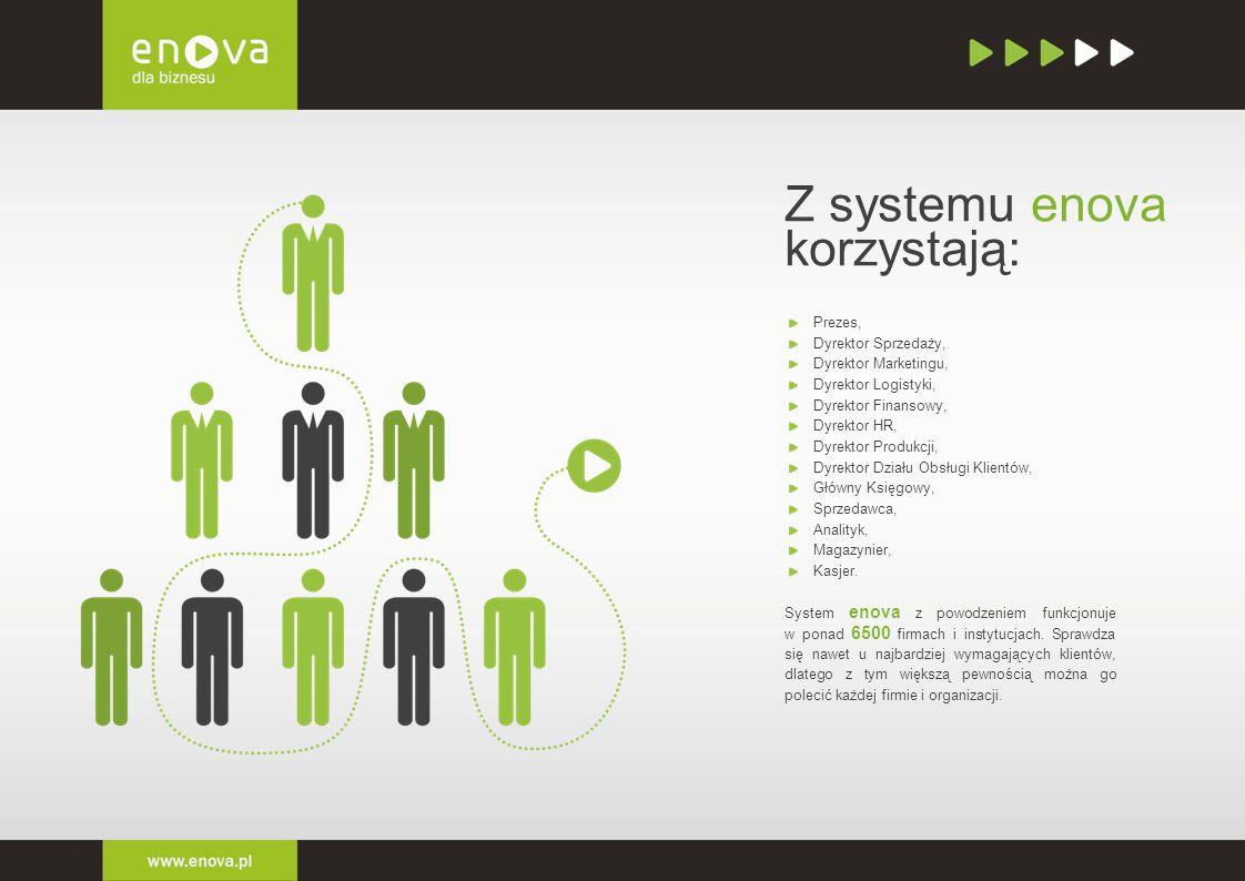 Z systemu enova korzystają: Prezes, Dyrektor Sprzedaży, Dyrektor Marketingu, Dyrektor Logistyki, Dyrektor Finansowy, Dyrektor HR, Dyrektor Produkcji,