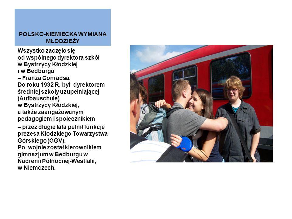 POLSKO-NIEMIECKA WYMIANA MŁODZIEŻY Wszystko zaczęło się od wspólnego dyrektora szkół w Bystrzycy Kłodzkiej i w Bedburgu – Franza Conradsa. Do roku 193