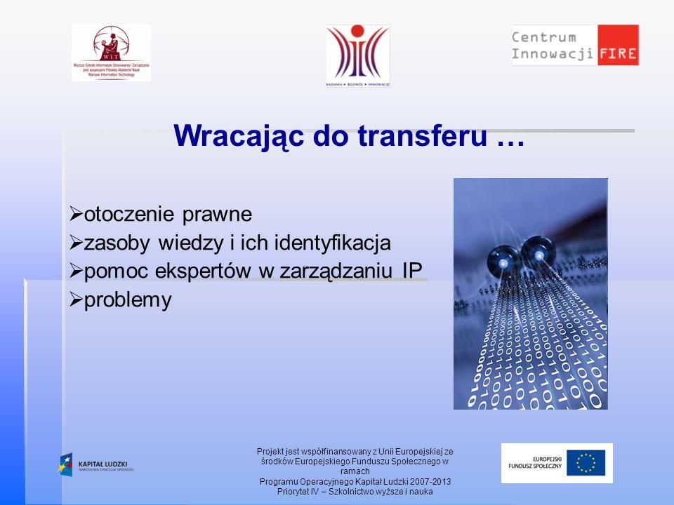 Wracając do transferu … Projekt jest współfinansowany z Unii Europejskiej ze środków Europejskiego Funduszu Społecznego w ramach Programu Operacyjnego