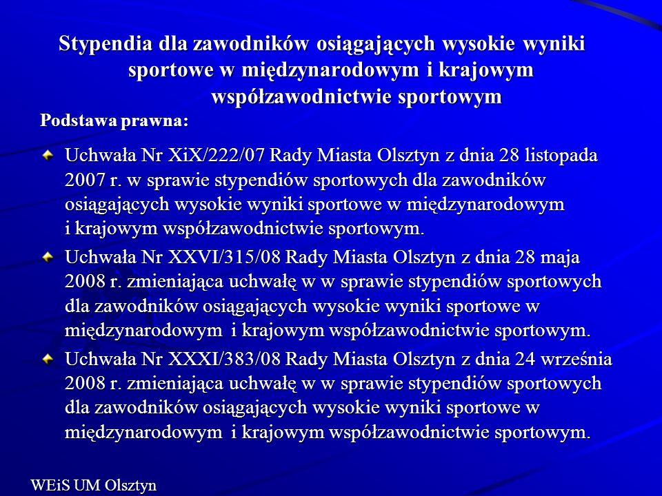 Stypendia dla zawodników osiągających wysokie wyniki sportowe w międzynarodowym i krajowym współzawodnictwie sportowym Podstawa prawna: Stypendia dla