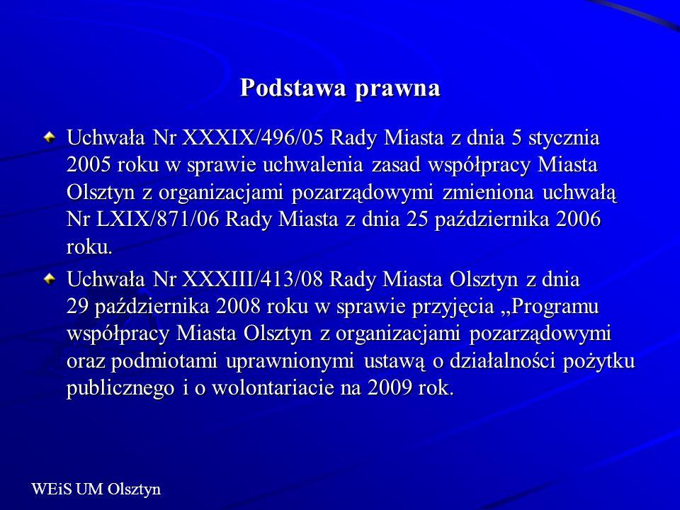 Podstawa prawna Uchwała Nr XXXIX/496/05 Rady Miasta z dnia 5 stycznia 2005 roku w sprawie uchwalenia zasad współpracy Miasta Olsztyn z organizacjami pozarządowymi zmieniona uchwałą Nr LXIX/871/06 Rady Miasta z dnia 25 października 2006 roku.
