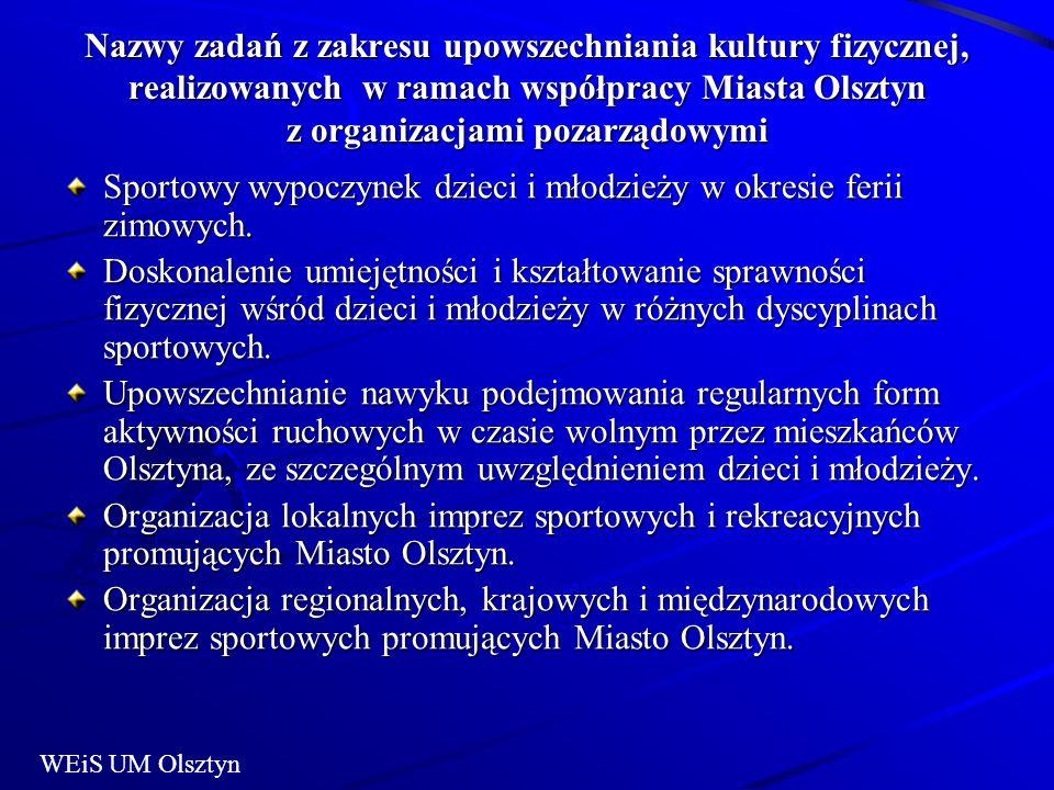 Nazwy zadań z zakresu upowszechniania kultury fizycznej, realizowanych w ramach współpracy Miasta Olsztyn z organizacjami pozarządowymi Sportowy wypoczynek dzieci i młodzieży w okresie ferii zimowych.