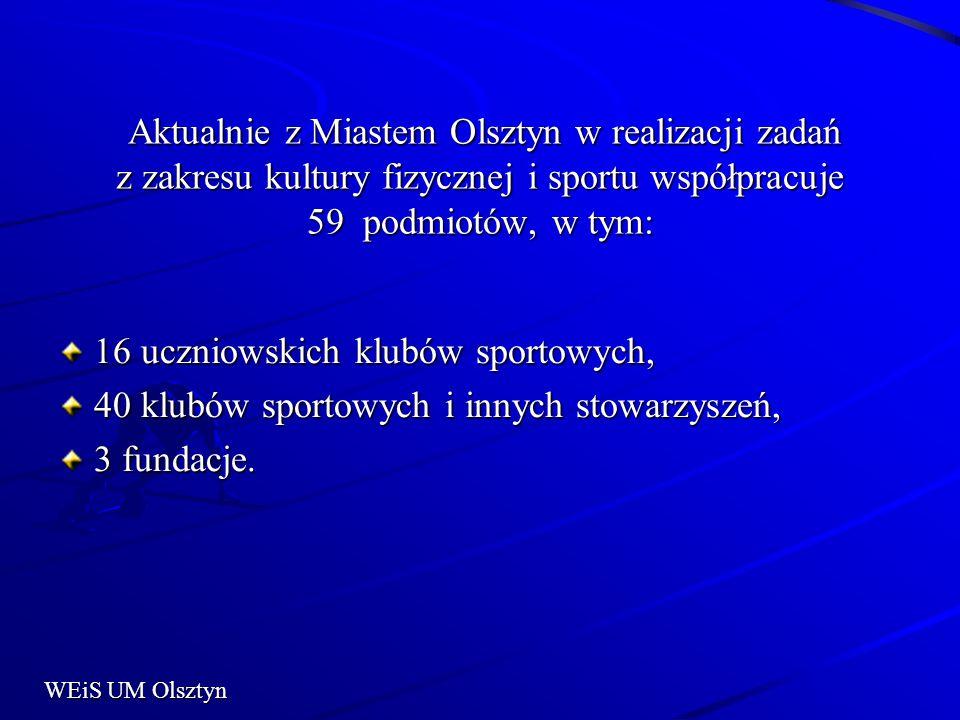 Aktualnie z Miastem Olsztyn w realizacji zadań z zakresu kultury fizycznej i sportu współpracuje 59 podmiotów, w tym: Aktualnie z Miastem Olsztyn w realizacji zadań z zakresu kultury fizycznej i sportu współpracuje 59 podmiotów, w tym: 16 uczniowskich klubów sportowych, 40 klubów sportowych i innych stowarzyszeń, 3 fundacje.