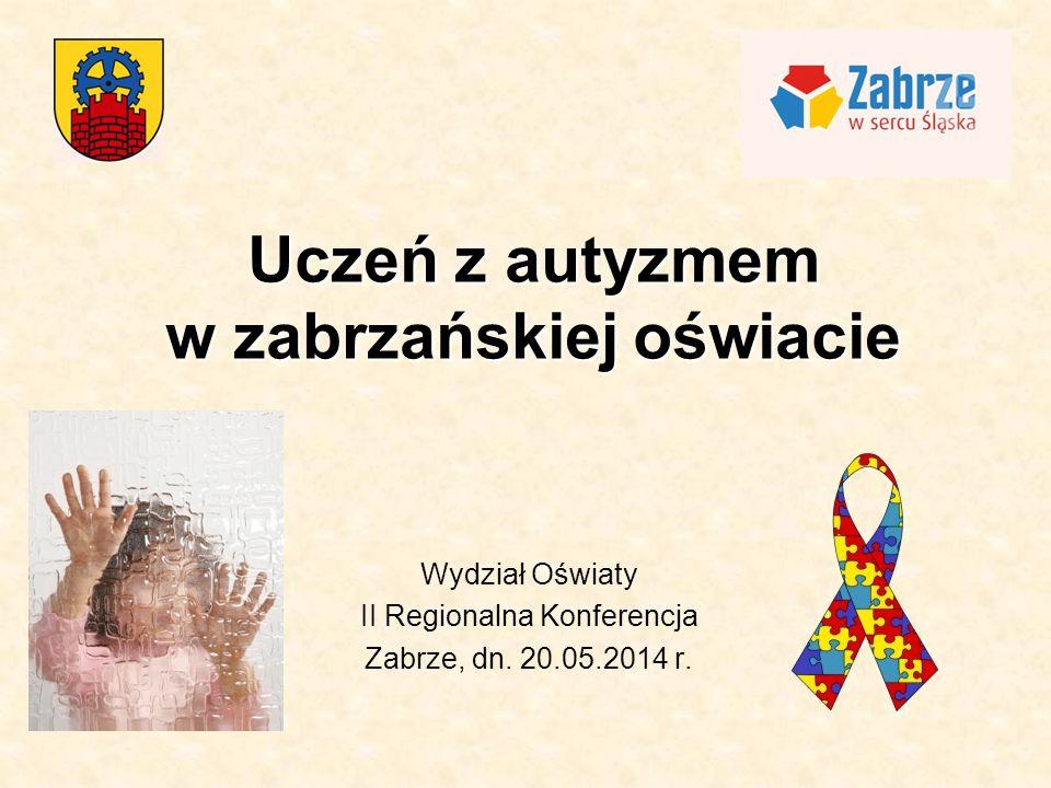 Uczeń z autyzmem w zabrzańskiej oświacie Wydział Oświaty II Regionalna Konferencja Zabrze, dn. 20.05.2014 r.