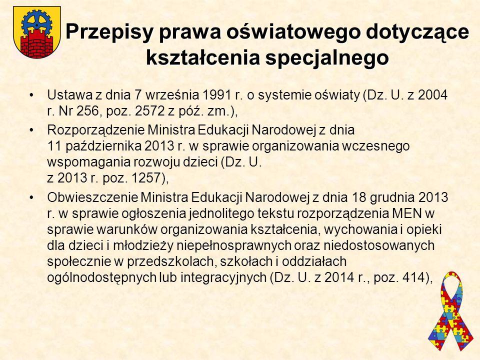 Przepisy prawa oświatowego dotyczące kształcenia specjalnego Ustawa z dnia 7 września 1991 r. o systemie oświaty (Dz. U. z 2004 r. Nr 256, poz. 2572 z