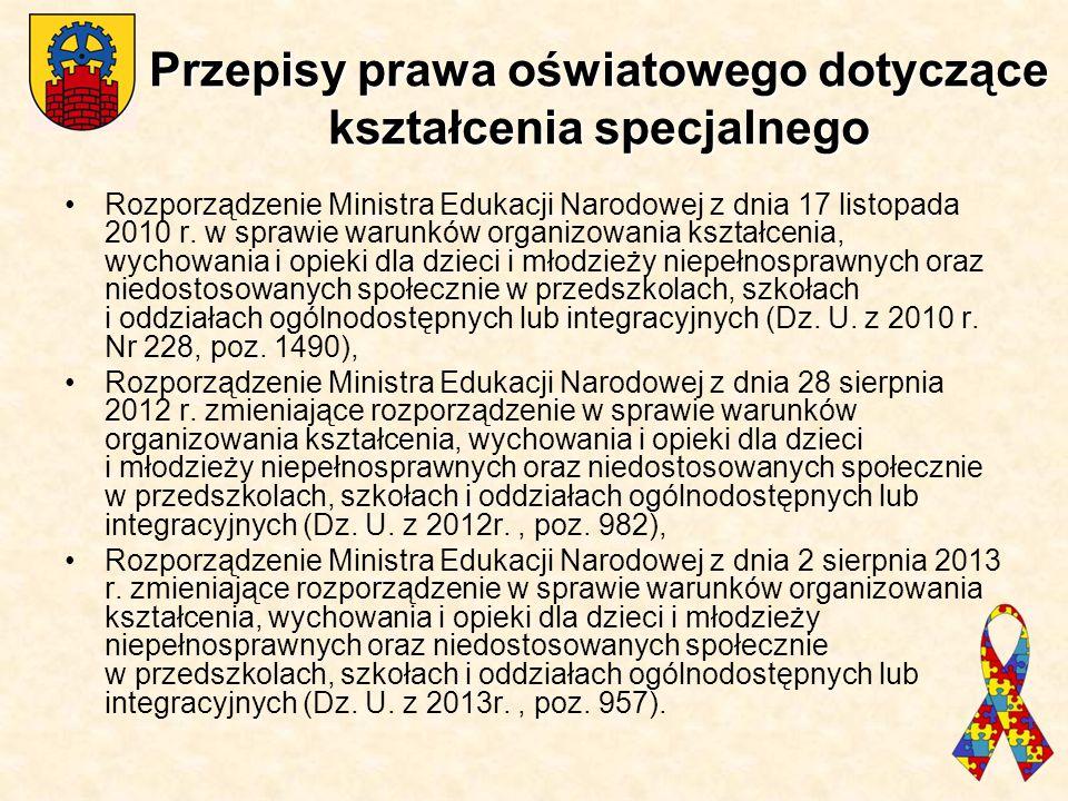 Przepisy prawa oświatowego dotyczące kształcenia specjalnego Rozporządzenie Ministra Edukacji Narodowej z dnia 17 listopada 2010 r. w sprawie warunków