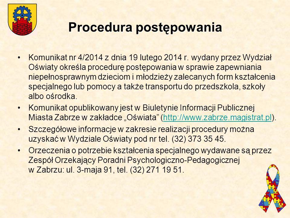 Procedura postępowania Komunikat nr 4/2014 z dnia 19 lutego 2014 r. wydany przez Wydział Oświaty określa procedurę postępowania w sprawie zapewniania