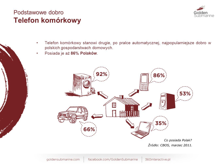 Telefon komórkowy stanowi drugie, po pralce automatycznej, najpopularniejsze dobro w polskich gospodarstwach domowych.