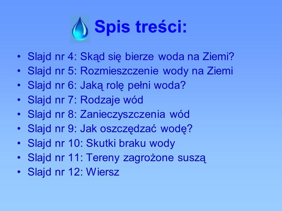 Spis treści: Slajd nr 4: Skąd się bierze woda na Ziemi? Slajd nr 5: Rozmieszczenie wody na Ziemi Slajd nr 6: Jaką rolę pełni woda? Slajd nr 7: Rodzaje