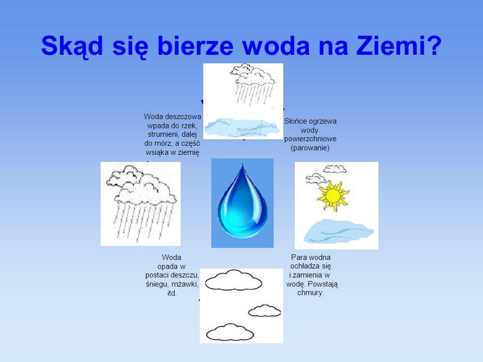Skąd się bierze woda na Ziemi? Słońce ogrzewa wody powierzchniowe (parowanie) Para wodna ochładza się i zamienia w wodę. Powstają chmury. Woda opada w