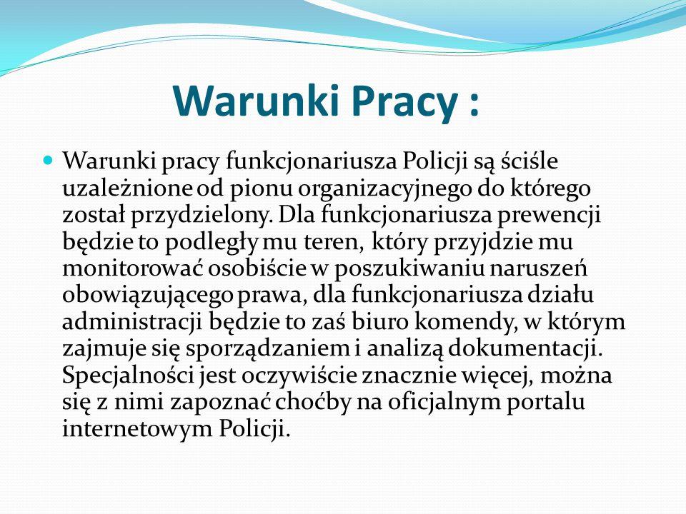 Warunki Pracy : Warunki pracy funkcjonariusza Policji są ściśle uzależnione od pionu organizacyjnego do którego został przydzielony. Dla funkcjonarius