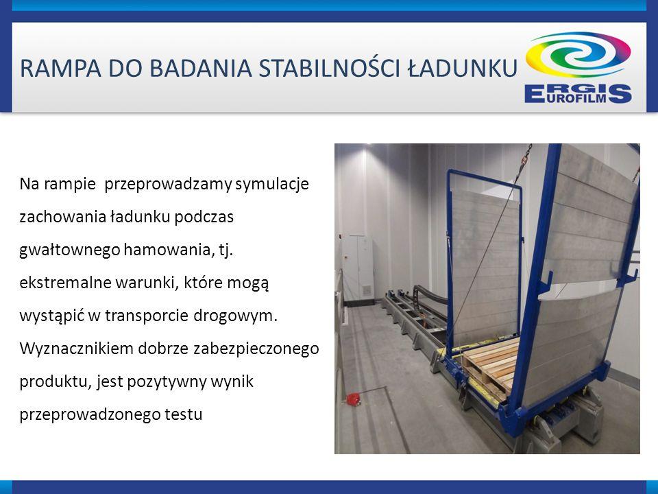 RAMPA DO BADANIA STABILNOŚCI ŁADUNKU Na rampie przeprowadzamy symulacje zachowania ładunku podczas gwałtownego hamowania, tj.