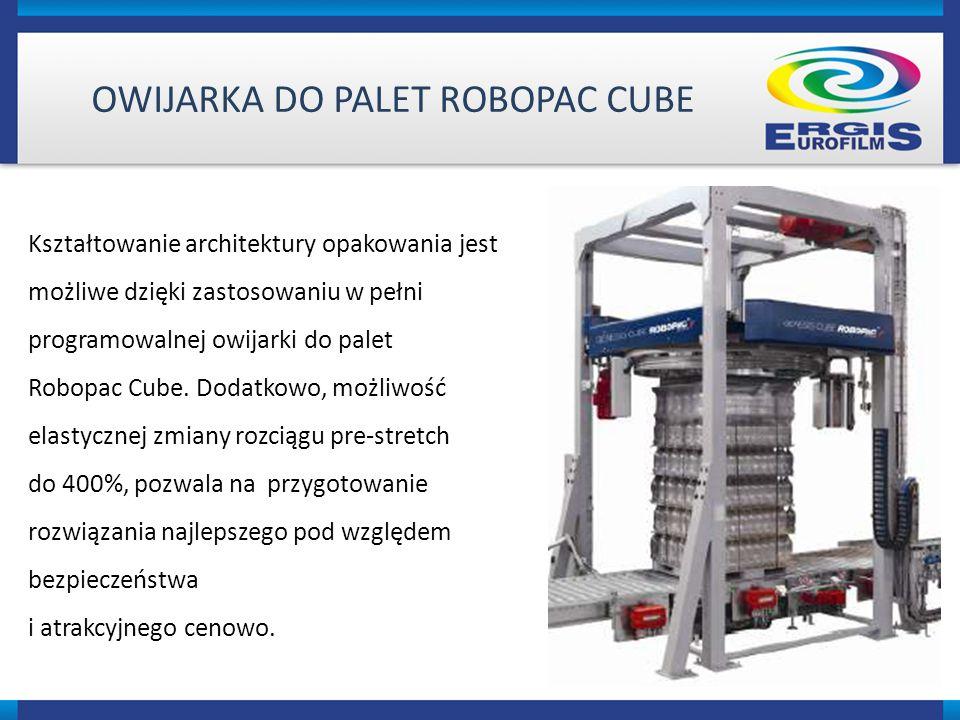 OWIJARKA DO PALET ROBOPAC CUBE Kształtowanie architektury opakowania jest możliwe dzięki zastosowaniu w pełni programowalnej owijarki do palet Robopac Cube.