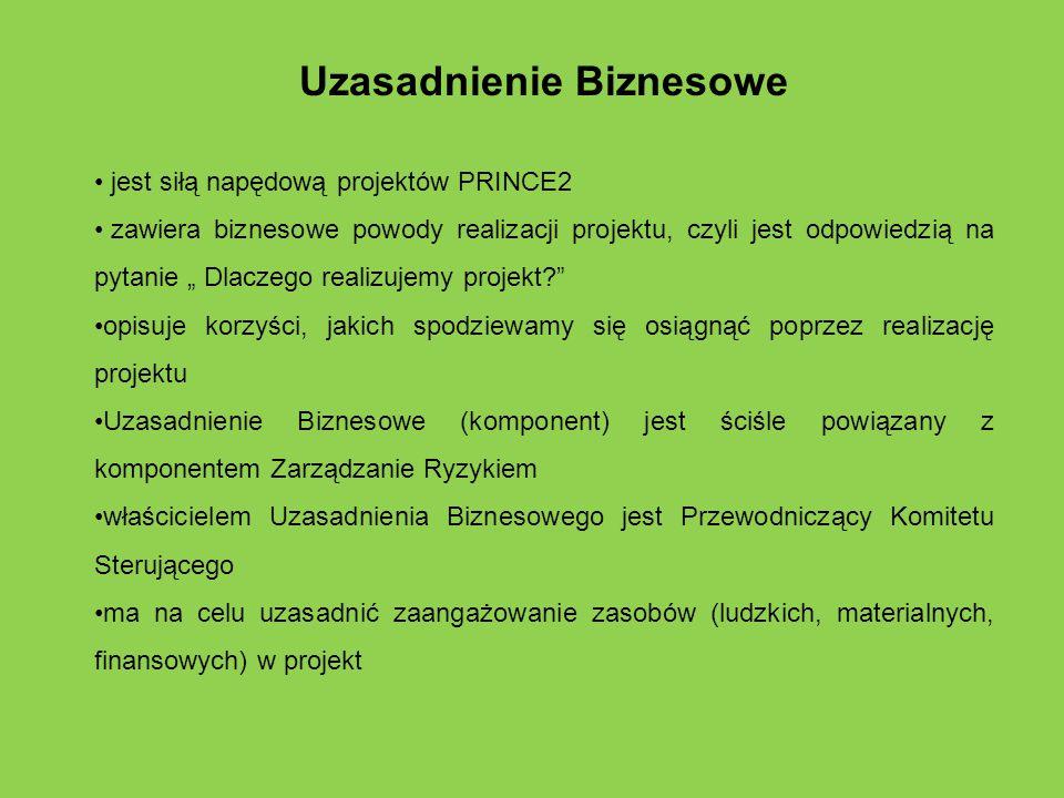 """Uzasadnienie Biznesowe jest siłą napędową projektów PRINCE2 zawiera biznesowe powody realizacji projektu, czyli jest odpowiedzią na pytanie """" Dlaczego"""