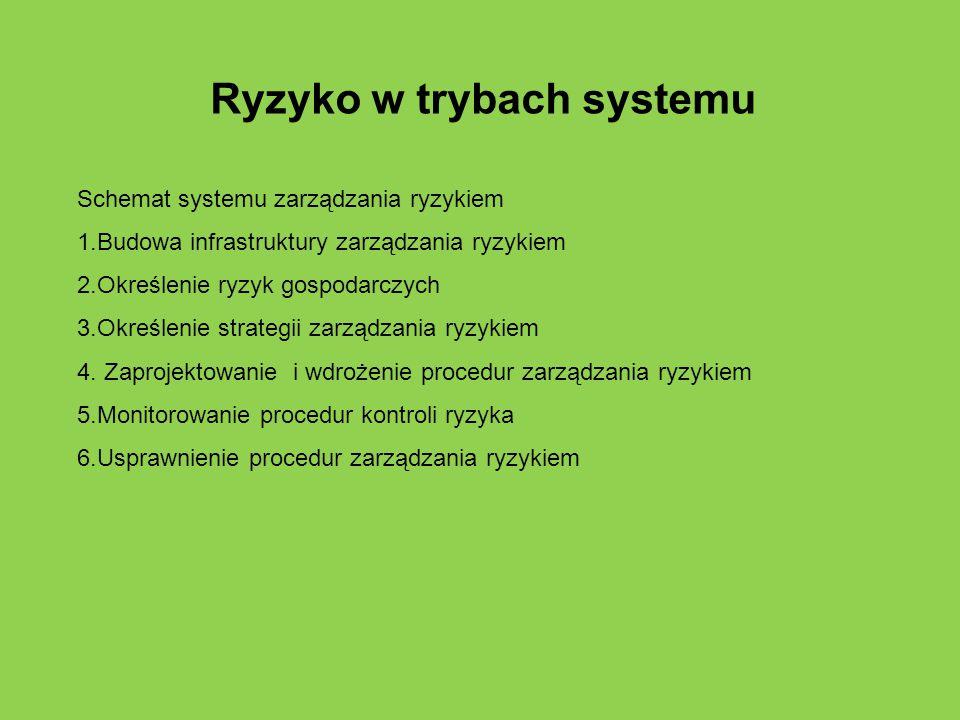 Ryzyko w trybach systemu Schemat systemu zarządzania ryzykiem 1.Budowa infrastruktury zarządzania ryzykiem 2.Określenie ryzyk gospodarczych 3.Określen