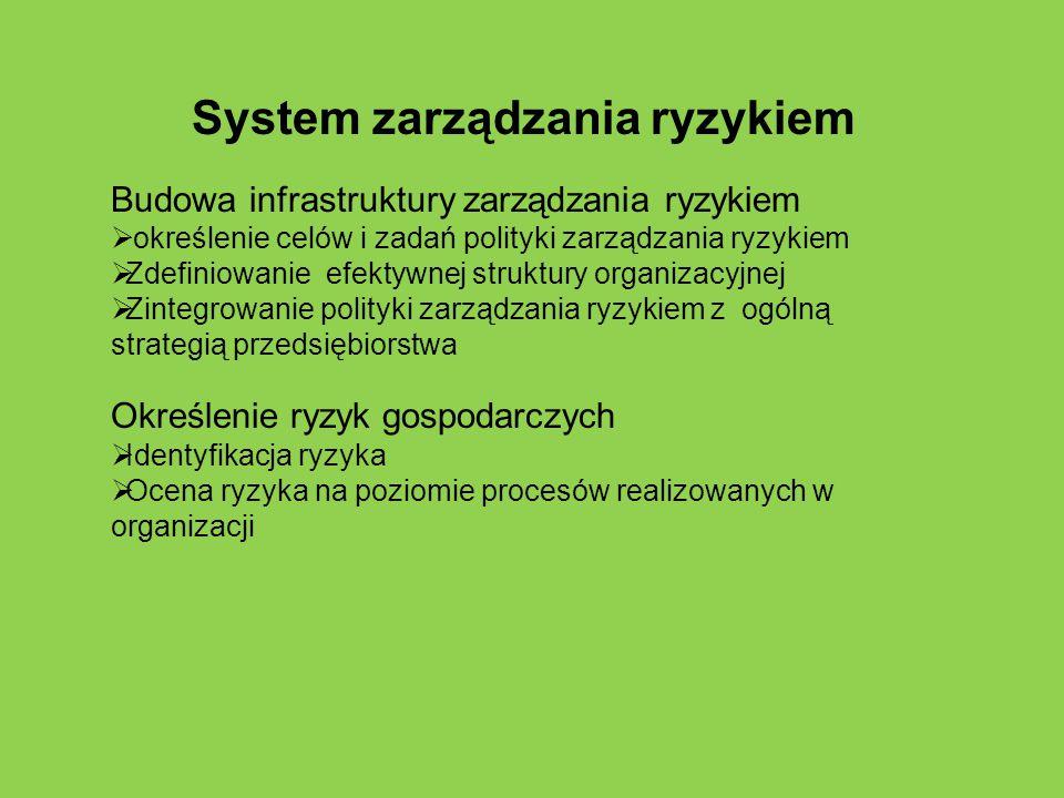 System zarządzania ryzykiem Budowa infrastruktury zarządzania ryzykiem  określenie celów i zadań polityki zarządzania ryzykiem  Zdefiniowanie efekty
