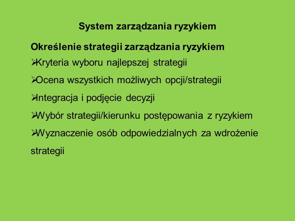 System zarządzania ryzykiem Określenie strategii zarządzania ryzykiem  Kryteria wyboru najlepszej strategii  Ocena wszystkich możliwych opcji/strate