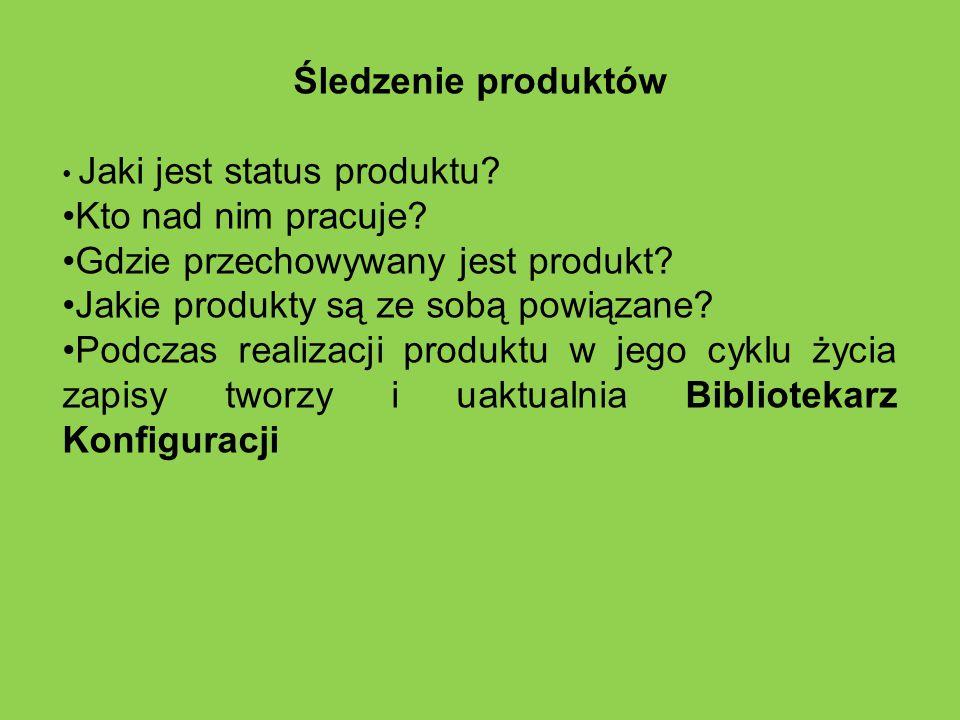 Śledzenie produktów Jaki jest status produktu? Kto nad nim pracuje? Gdzie przechowywany jest produkt? Jakie produkty są ze sobą powiązane? Podczas rea